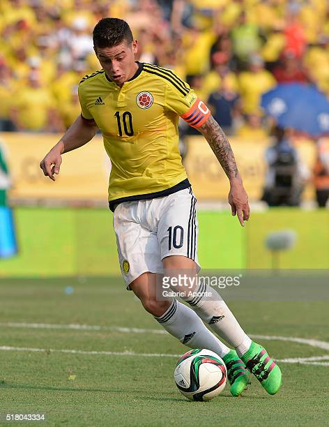 James Rodriguez of Colombia drives the ball during a match between Colombia and Ecuador as part of FIFA 2018 World Cup Qualifiers at Roberto Melendez...