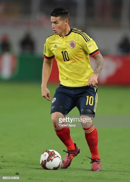 James Rodriguez of Colombia drives the ball during a match between Peru and Colombia as part of FIFA 2018 World Cup Qualifiers at Monumental Stadium...