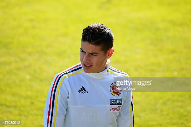 James Rodriguez of Colombia during a training session at San Carlos de Apoquindo training camp on June 13 2015 in Santiago Chile Colombia will face...