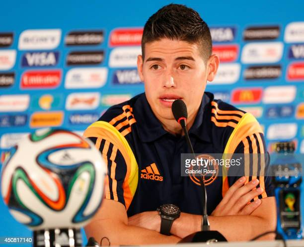 James Rodriguez of Colombia during the press conference ahead of the Group C match between Colombia and Cote D'Ivoire as part of FIFA World Cup 2014...
