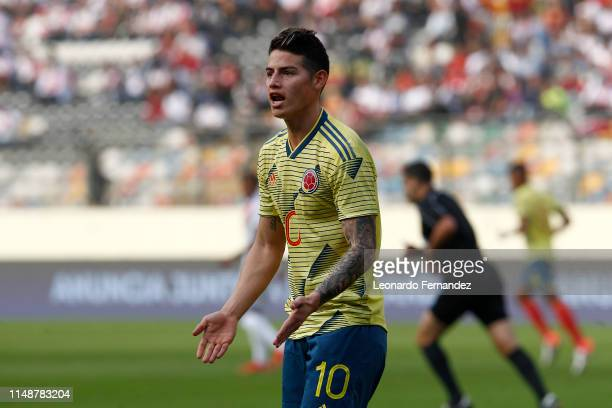 James Rodriguez of Colombia gestures during a friendly match between Peru and Colombia at Estadio Monumental de Lima on June 9 2019 in Lima Peru