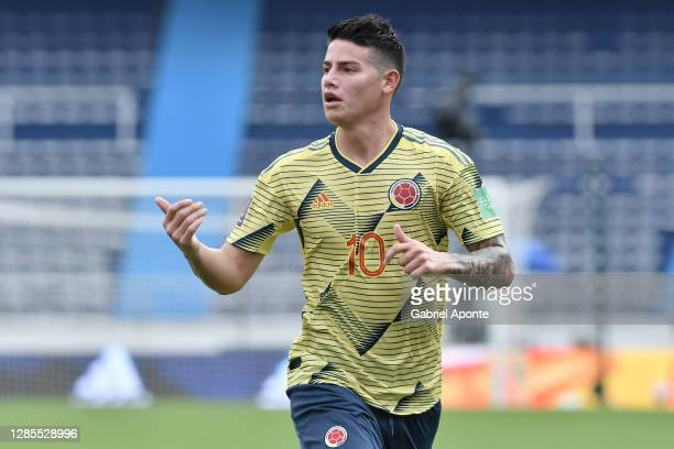James Rodriguez of Colombia gestures during a match between Colombia and Uruguay as part of South American Qualifiers for Qatar 2022 at Estadio...