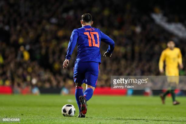 James Rodriguez of Colombia illustration number ten during the International friendly match between Colombia and Australia at Craven Cottage on March...
