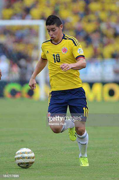 James Rodriguez of Colombia in action during a match between Colombia and Chile as part of the 15th round of the South American Qualifiers at...