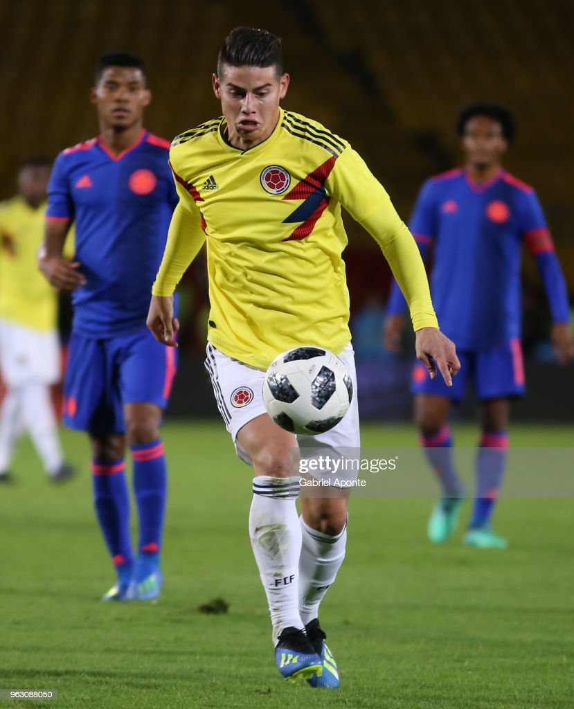 James Rodriguez of Colombia in action during a training session open to the public as part of the preparation for FIFA World Cup Russia 2018 on May 25, 2018 in Bogota, Colombia.