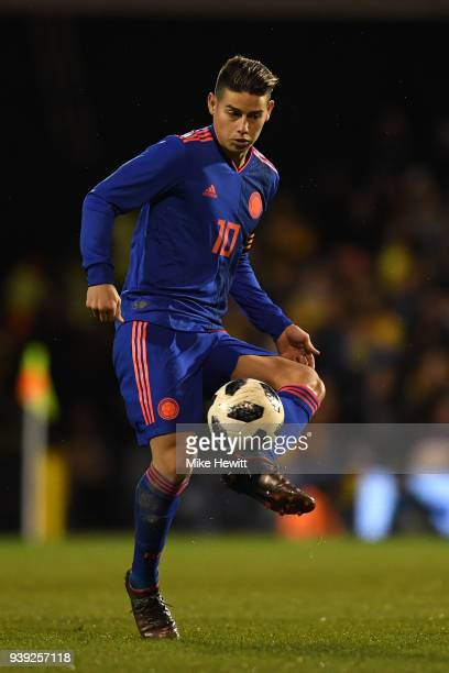 James Rodriguez of Colombia in action during the International Friendly between Australia and Colombia at Craven Cottage on March 27 2018 in London...