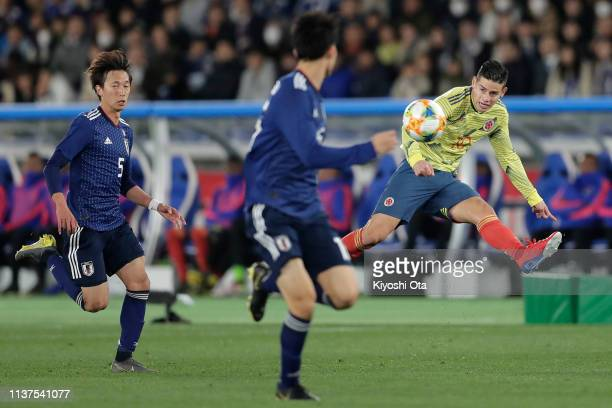 James Rodriguez of Colombia in action during the international friendly match between Japan and Colombia at Nissan Stadium on March 22 2019 in...