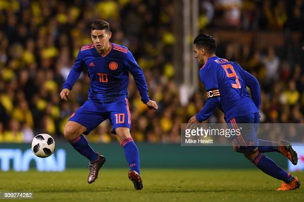 James Rodriguez of Colombia in action with team mate Radamel Falcao during the International Friendly between Australia and Colombia at Craven...