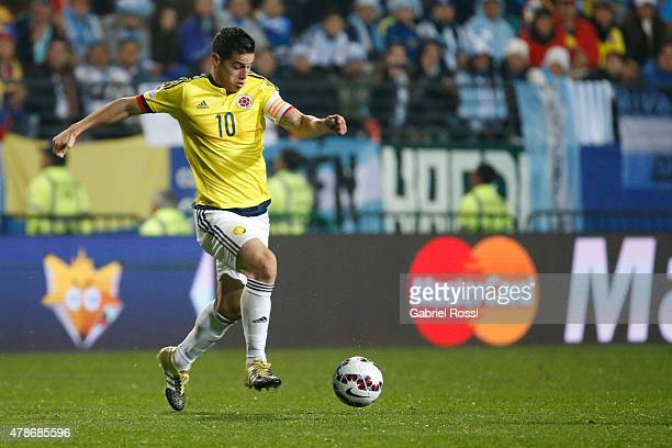 James Rodriguez of Colombia in full flow during the 2015 Copa America Chile quarter final match between Argentina and Colombia at Sausalito Stadium...