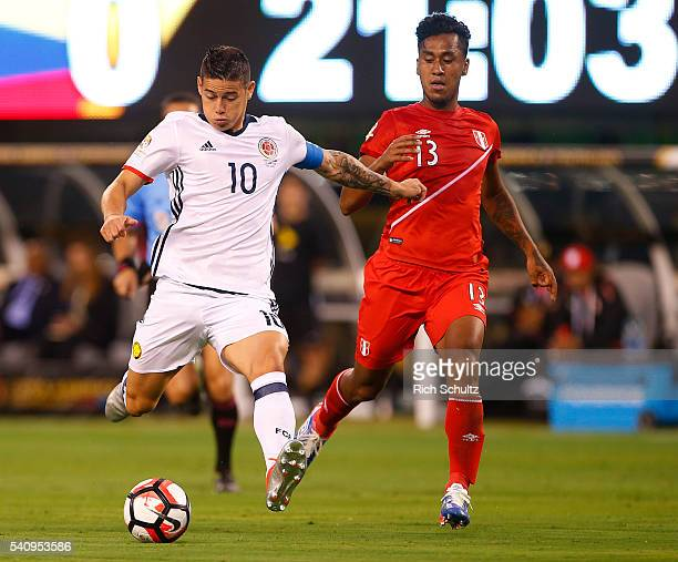 James Rodriguez of Colombia kicks the ball during a Quarterfinal match at MetLife Stadium as part of Copa America Centenario US 2016 on June 17 2016...