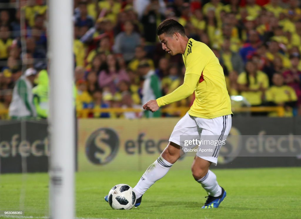 James Rodriguez of Colombia kicks the ball during a training session open to the public as part of the preparation for FIFA World Cup Russia 2018 on May 25, 2018 in Bogota, Colombia.