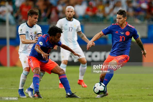 James Rodriguez of Colombia kicks the ball during the Copa America Brazil 2019 group B match between Argentina and Colombia at Arena Fonte Nova on...
