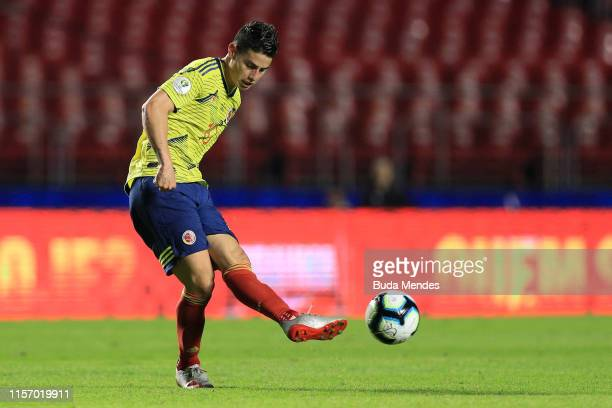 James Rodriguez of Colombia kicks the ball during the Copa America Brazil 2019 group B match between Colombia and Qatar at Morumbi Stadium on June 19...