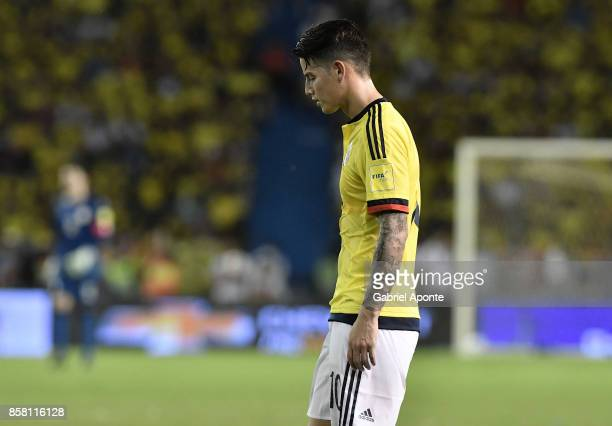 James Rodriguez of Colombia looks dejected after a match between Colombia and Paraguay as part of FIFA 2018 World Cup Qualifiers at Metropolitano...