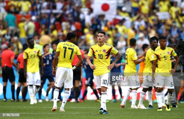 James Rodriguez of Colombia looks dejected following his sides defeat in the 2018 FIFA World Cup Russia group H match between Colombia and Japan at...
