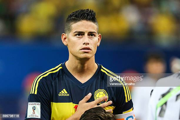 James Rodriguez of Colombia looks on before a match between Brazil and Colombia as part of FIFA 2018 World Cup Qualifiers at Arena Amazonia Stadium...