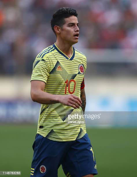 James Rodriguez of Colombia looks on during a friendly match between Peru and Colombia at Estadio Monumental on June 9, 2019 in Lima, Peru.