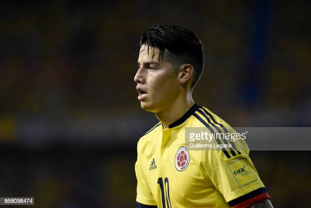 James Rodriguez of Colombia looks on during a match between Colombia and Paraguay as part of FIFA 2018 World Cup Qualifiers at Metropolitano Roberto...