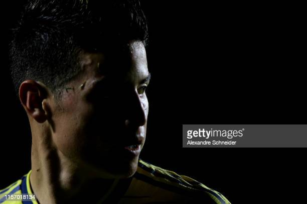 James Rodriguez of Colombia looks on during the Copa America Brazil 2019 group B match between Colombia and Qatar at Morumbi Stadium on June 19 2019...
