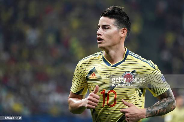 James Rodriguez of Colombia looks on during the Copa America Brazil 2019 quarterfinal match between Colombia and Chile at Arena Corinthians on June...