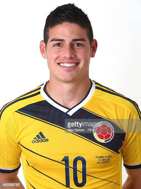 James Rodriguez of Colombia poses during the official FIFA World Cup 2014 portrait session on June 9 2014 in Sao Paulo Brazil