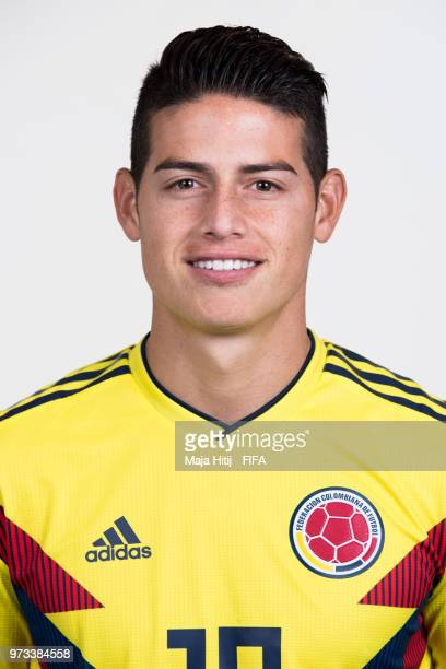 James Rodriguez of Colombia poses for a portrait during the official FIFA World Cup 2018 portrait session at Kazan Ski Resort on June 13 2018 in...