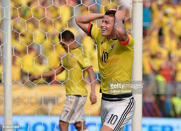 James Rodriguez of Colombia reacts after missing a chance to score during a match between Colombia and Ecuador as part of FIFA 2018 World Cup...