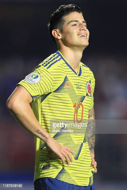 James Rodriguez of Colombia reacts during the Copa America Brazil 2019 group B match between Colombia and Qatar at Morumbi Stadium on June 19 2019 in...