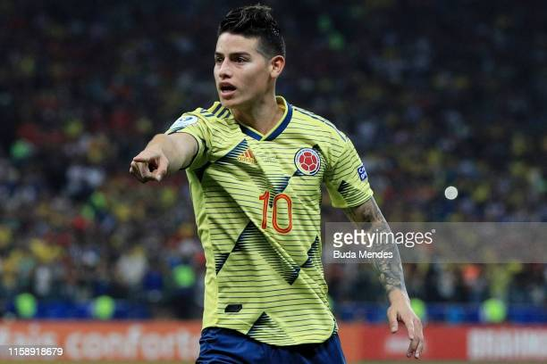 James Rodriguez of Colombia reacts during the Copa America Brazil 2019 quarterfinal match between Colombia and Chile at Arena Corinthians on June 28,...