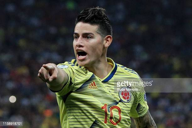 James Rodriguez of Colombia reacts during the Copa America Brazil 2019 quarterfinal match between Colombia and Chile at Arena Corinthians on June 28...