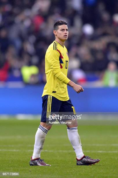 James Rodriguez of Colombia reacts during the international friendly match between France and Colombia at Stade de France on March 23 2018 in Paris...