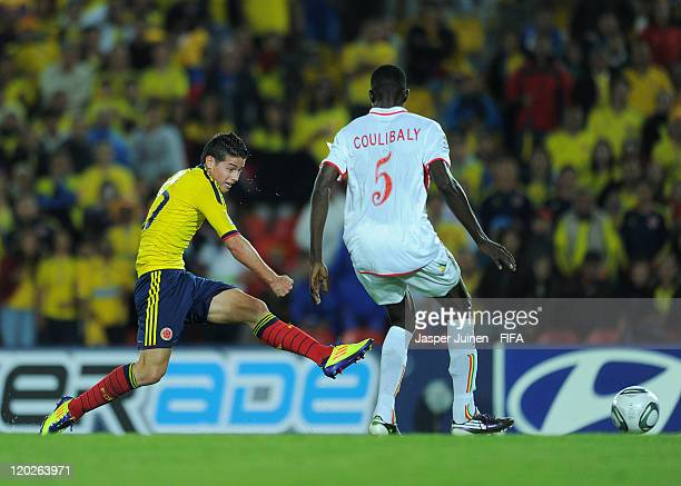 James Rodriguez of Colombia scores his sides second goal past Moussa Coulibaly of Mali during the FIFA U20 World Cup Colombia 2011 group A match...