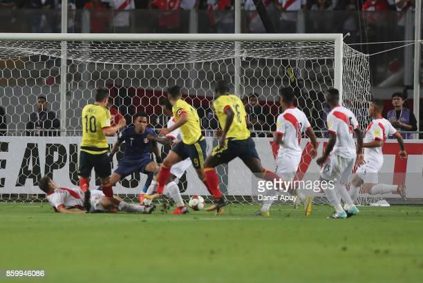 James Rodriguez of Colombia scores the first goal of his team during a match between Peru and Colombia as part of FIFA 2018 World Cup Qualifiers at...