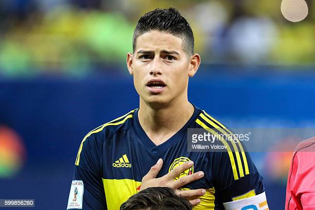 James Rodriguez of Colombia sings the national anthem during a match between Brazil and Colombia as part of FIFA 2018 World Cup Qualifiers at Arena...