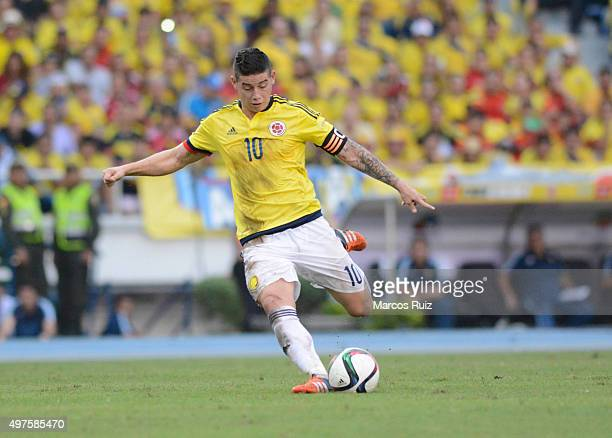 James Rodriguez of Colombia takes a shot during a match between Colombia and Argentina as part of FIFA 2018 World Cup Qualifiers at Metropolitano...