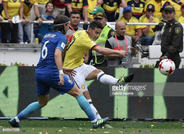 James Rodriguez of Colombia takes a shot during a match between Colombia and Brazil as part of FIFA 2018 World Cup Qualifiers at Metropolitano...