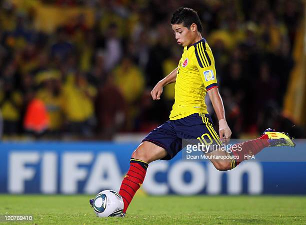 James Rodriguez of Colombia takes and scores his teams third goal of the game from the penalty spot in the final minute during the FIFA U20 World Cup...