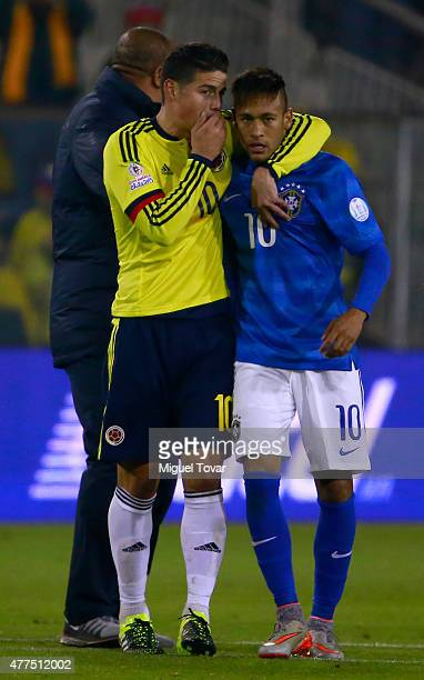 James Rodriguez of Colombia talks with Neymar of Brazil after the 2015 Copa America Chile Group C match between Brazil and Colombia at Monumental...