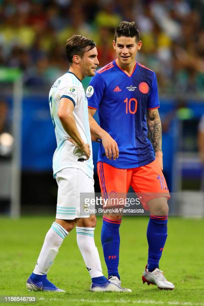James Rodriguez of Colombia talks with Nicolas Tagliafico of Argentina during the Copa America Brazil 2019 group B match between Argentina and...