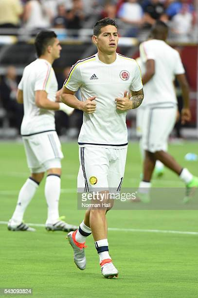 James Rodriguez of Colombia warms up prior to a third place match between United States and Colombia at University of Phoenix Stadium as part of Copa...