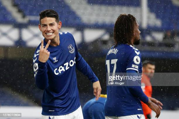 James Rodriguez of Everton celebrates after scoring his team's fourth goal during the Premier League match between Everton and Brighton & Hove Albion...