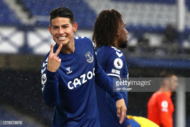 James Rodriguez of Everton celebrates after scoring his team's fourth goal during the Premier League match between Everton and Brighton Hove Albion...