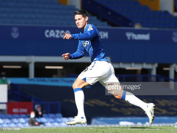 James Rodriguez of Everton celebrates after scoring his team's second goal during the Premier League match between Everton and West Bromwich Albion...