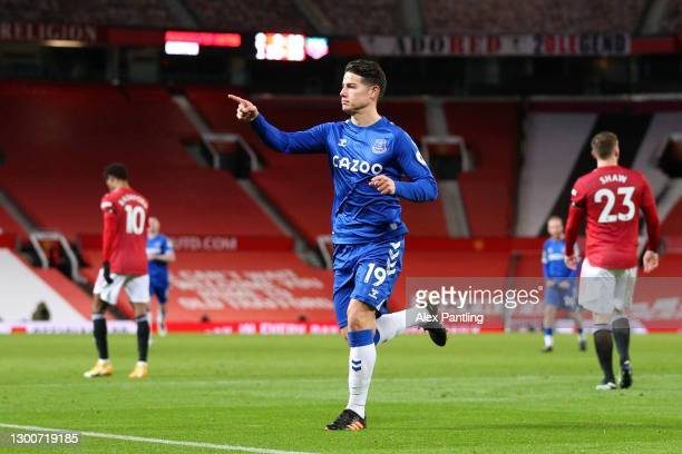 James Rodriguez of Everton celebrates after scoring their team's second goal during the Premier League match between Manchester United and Everton at...