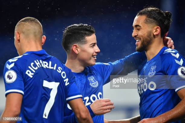 James Rodriguez of Everton celebrates with team mate Dominic Calvert-Lewin after scoring their side's first goal during the Premier League match...