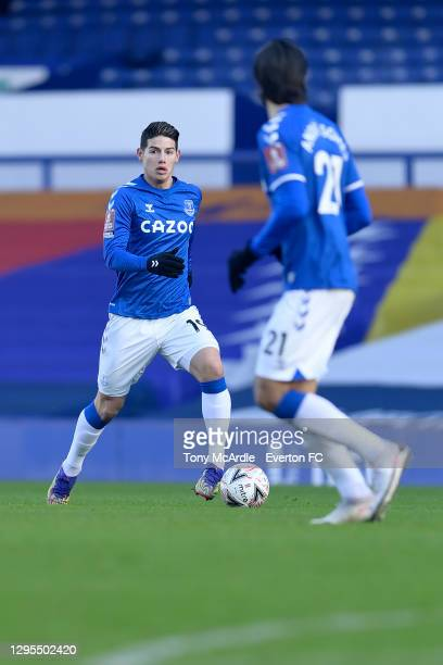 James Rodriguez of Everton during the FA Cup Third Round match between Everton and Rotherham United at Goodison Park on January 9 2021 in Liverpool,...