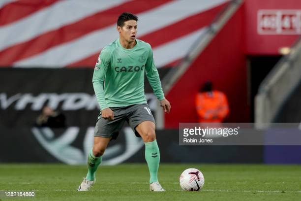 James Rodriguez of Everton during the Premier League match between Southampton and Everton at St Mary's Stadium on October 25 2020 in Southampton...