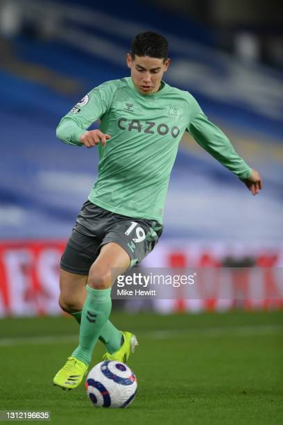 James Rodriguez of Everton in action during the Premier League match between Brighton & Hove Albion and Everton at American Express Community Stadium...