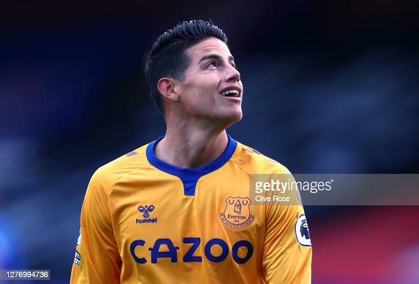 James Rodriguez of Everton looks on during the Premier League match between Crystal Palace and Everton at Selhurst Park on September 26, 2020 in...