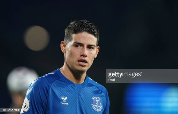 James Rodriguez of Everton looks on during the Premier League match between Everton and Tottenham Hotspur at Goodison Park on April 16, 2021 in...